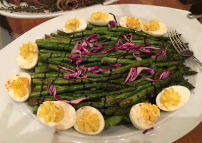 Asparagus with hard boiled eggs