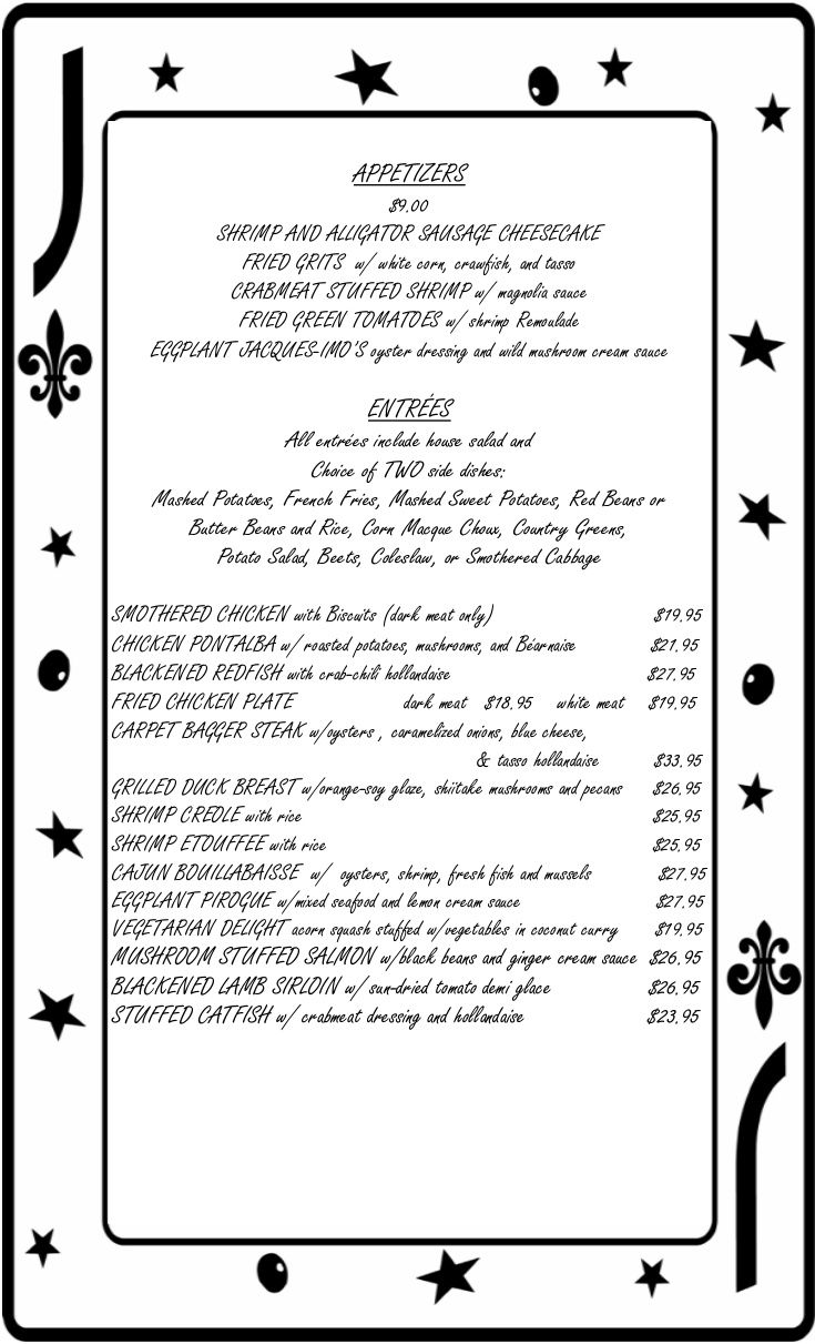 Jacques Imos Regular Menu