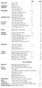 October 2014 Wine List